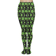 Green Shamrock Pattern Black Tights by CoolDesigns