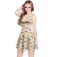 Colorful Pattern With Different Pizza And Spices Sleeveless Dress