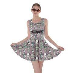 Gray Owl Pattern Skater Dress