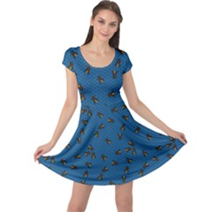 Blue Pattern Of The Bee On Honeycombs Cap Sleeve Dress
