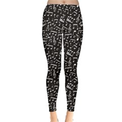 Black White Music Elements On Black Square Pattern Women s Leggings by CoolDesigns
