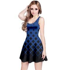 Blue & Black Gradient With Black Rhombuses Sleeveless Skater Dress