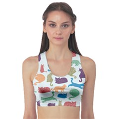 Blue Colorful Cats Silhouettes Pattern Women s Sport Bra by CoolDesigns