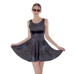Blue Pattern Constellations Of Hearts On Night Skater Dress