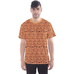 Orange African Tribal Pattern Ethnic Ornament With Different Men s Sport Mesh Tee
