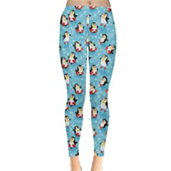 Blue Pattern Funny Penguins Snowflakes On Blue Icy Leggings by CoolDesigns