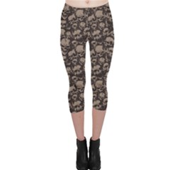 Black Grunge Pattern with Skulls Illustration Capri Leggings by CoolDesigns