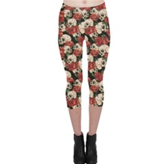 Brown Skull and Flowers Day of the Dead Vintage Capri Leggings by CoolDesigns