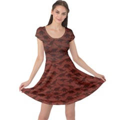 Dark A Pattern With Dinosaur Silhouettes Cap Sleeve Dress by CoolDesigns