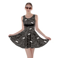 Black Beautiful Musical Pattern With Notes And Piano Keyboard Skater Dress
