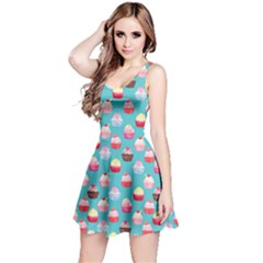 Aqua Watercolor Cupcakes Pattern Sleeveless Skater Dress