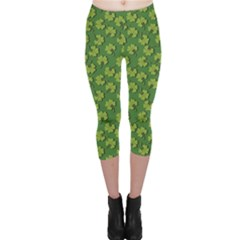 Green Clover Pattern for St Patricks Day Capri Leggings by CoolDesigns