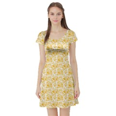Orange Lemon Pattern Short Sleeve Skater Dress by CoolDesigns