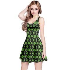 Green Shamrock Pattern Black Sleeveless Dress