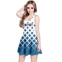 Blue Gradient With Black Rhombuses Sleeveless Skater Dress