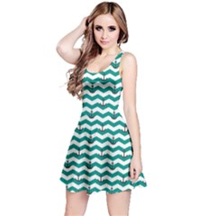 Green Sailor Tile Pattern With Red Anchor On A White And Blue Sleeveless Skater Dress