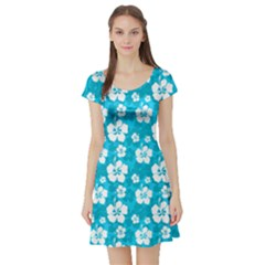 Sky Blue Short Sleeve Skater Dress by CoolDesigns