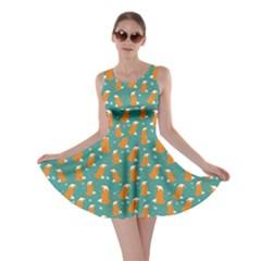 Teal Fox Pattern Skater Dress