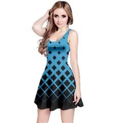 Sky Blue Gradient With Black Rhombuses Sleeveless Skater Dress