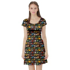 Black Set Of Funny Cartoon Animals Character On Black Zoo Short Sleeve Skater Dress