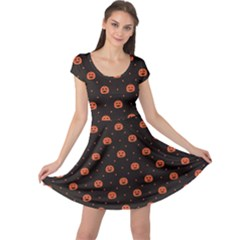 Black Black D Polka Dots Pattern With Halloween Pumpkin Cap Sleeve Dress by CoolDesigns