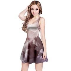 Brown & Beige Iridescent Pattern Sleeveless Skater Dress