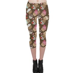 Colorful Pattern Of Tasty Cupcakes Capri Leggings by CoolDesigns