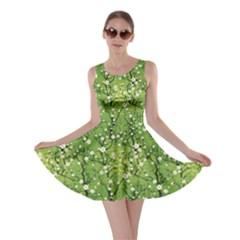 Neon Green Japanese Cherry Blossom Tree Pattern Skater Dress