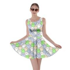 Green Gray Kawaii Cute Ghosts Skater Dress