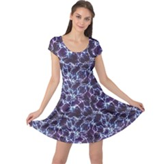 Blue Blue Electric Lightning Pattern Cap Sleeve Dress by CoolDesigns