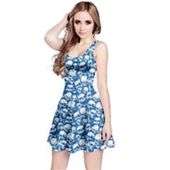 Blue Grunge Skulls Pattern Sleeveless Skater Dress