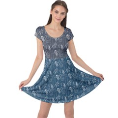 Blue Pattern Seahorses Jellyfishes Starfishes Stingrays Cap Sleeve Dress by CoolDesigns