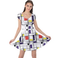 Colorful Pattern Retro Geometric Pattern Cap Sleeve Dress by CoolDesigns