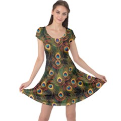 Green Pattern Peacock Feathers Cap Sleeve Dress by CoolDesigns