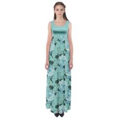 Mint Roses Empire Waist Maxi Dress