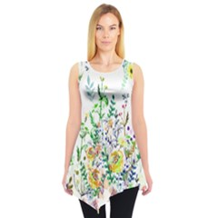 White Garden Sleeveless Tunic Top by CoolDesigns