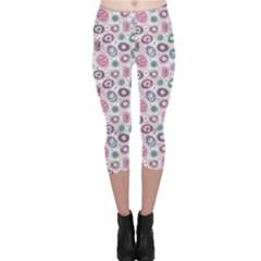 Purple White Pattern Colorful Balls Flowers Polka Dots Capri Leggings