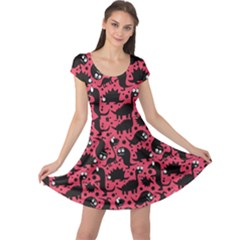 Pink Pattern Funny Dinosaurs Cap Sleeve Dress by CoolDesigns