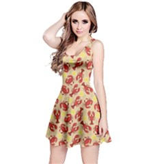 Red Lobster And Crab Lemon And Dill Pattern Reversible Sleeveless Dress
