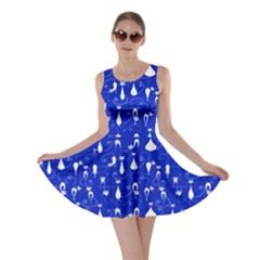 Royal Blue Lovely Cats Pattern Skater Dress