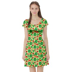 Light Yellow Vegetable Pattern Short Sleeve Skater Dress  by CoolDesigns