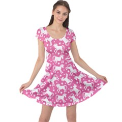 Pink Cute Unicorn Pattern With Stars Cap Sleeve Dress