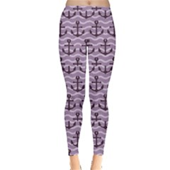 Purple with Sea Anchors Stylish Design Leggings by CoolDesigns