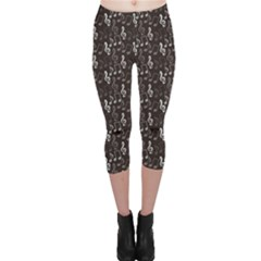 Black Pattern with Music Notes Treble Clef Capri Leggings by CoolDesigns