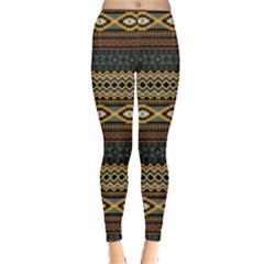 Dark Mint Aztec Tribal Chevron Stripes Leggings by CoolDesigns