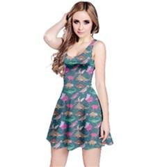 Dark Mint Dinosaur Stylish Pattern Sleeveless Skater Dress