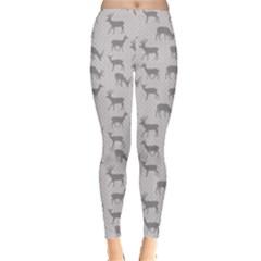 Gray Pattern With Deer In Gray Women s Leggings