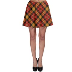 Red Textured Tartan Plaid Pattern Skater Skirt by CoolDesigns