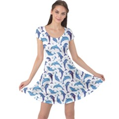 Blue Watercolor Pattern With Dolphins Cap Sleeve Dress by CoolDesigns