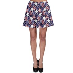 Blue Usa Stars And Stripes Pattern Skater Skirt by CoolDesigns